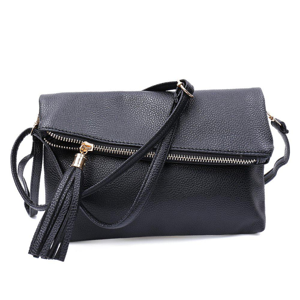 Guapabien Tassel Solid Color Magnet Button Zipper Women Shoulder Messenger Wrist Envelope Bag - BLACK