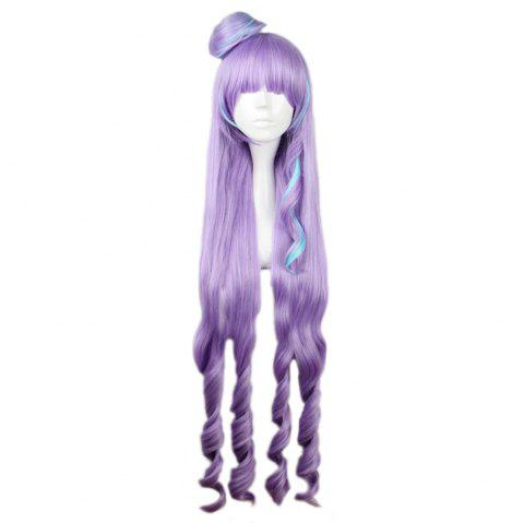 Femmes Long Mixed Color Purple Blue Wigs Full Bangs Anime Cosplay pour Macross Delta Figure - Violet clair