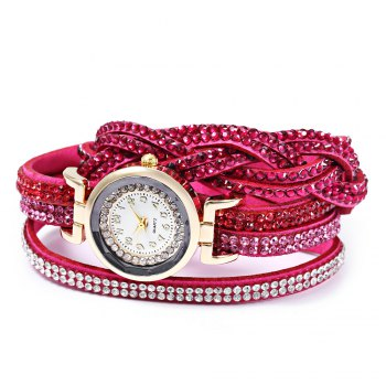 Women Bracelet Quartz Wrist Watch Rhinestone Decorated Leather Band