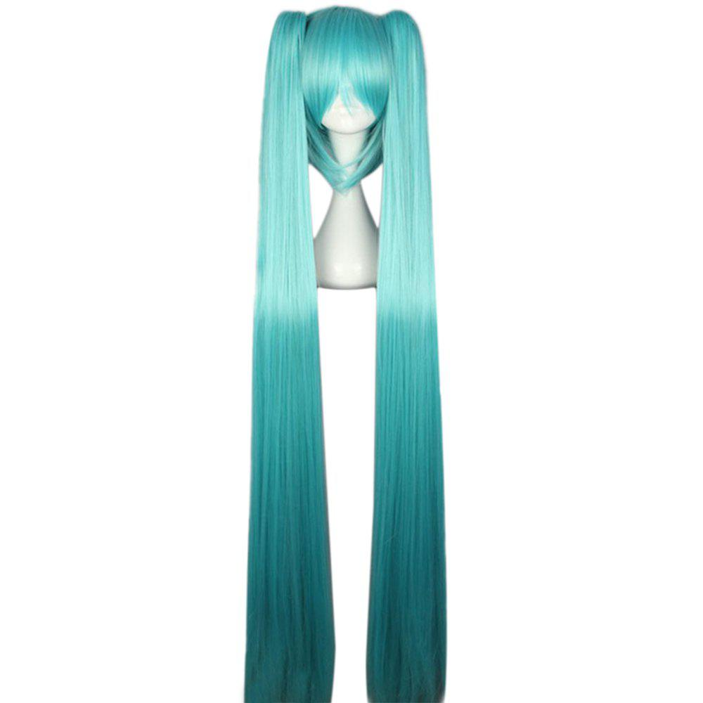Women Long Straight Blue Full Wigs with Bangs 2 Ponytails Anime Cosplay Hair for Vocaloid Hatsune Miku Figure - LAKE BLUE