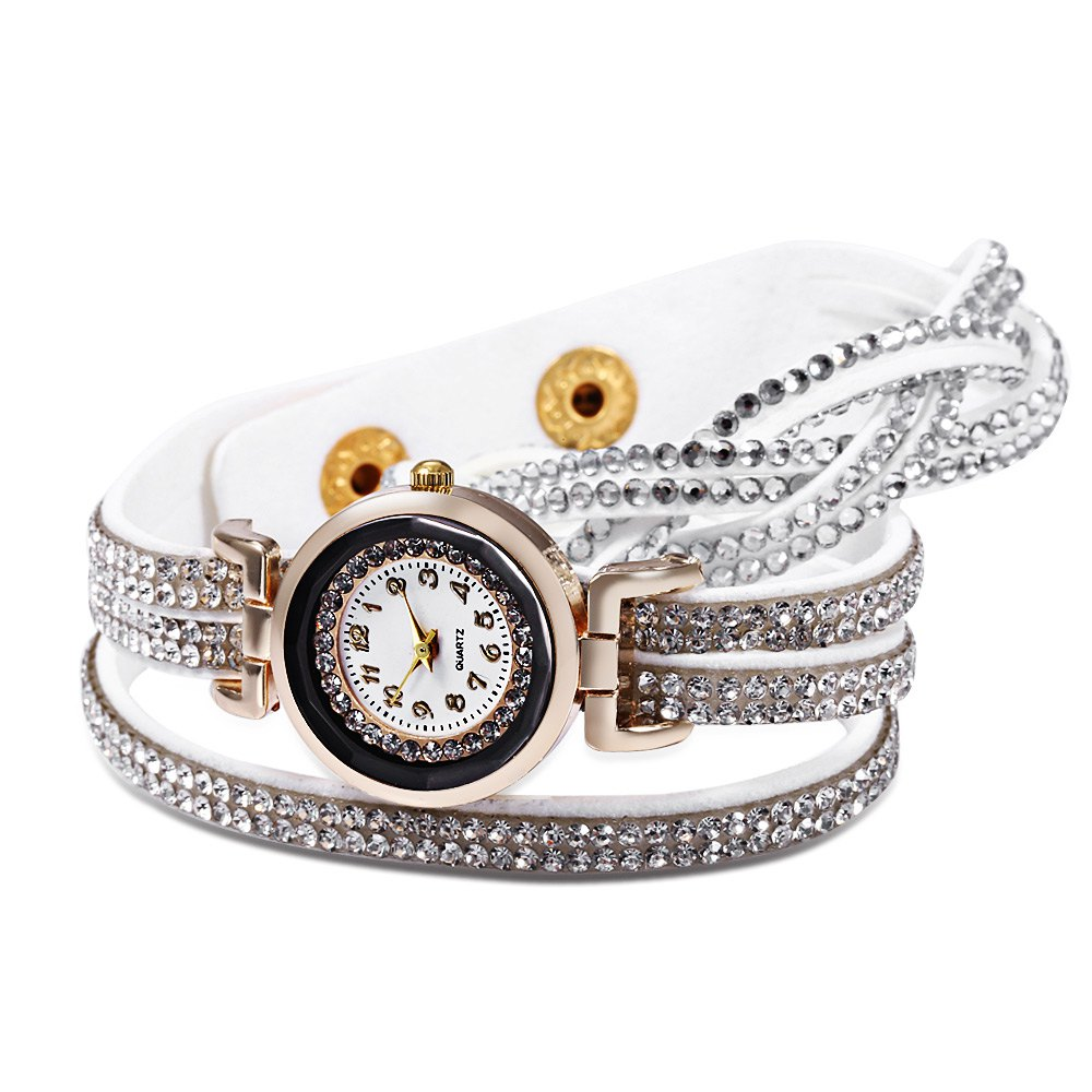 Women Bracelet Quartz Wrist Watch Rhinestone Decorated Leather Band - WHITE