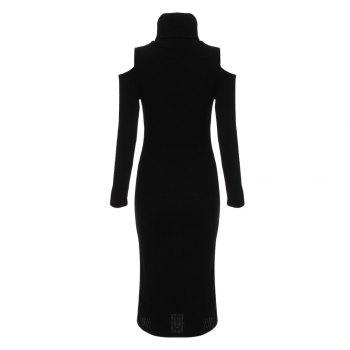 Brief Turtleneck Rib Knitted Women Midi Sheath Dress - BLACK L