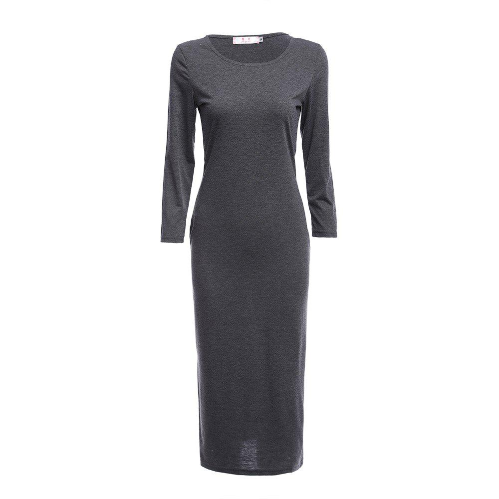 Brief Round Collar Solid Color Bodycon Women Midi Dress - GRAY L