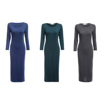 Brief Round Collar Solid Color Bodycon Women Midi Dress - GRAY GRAY