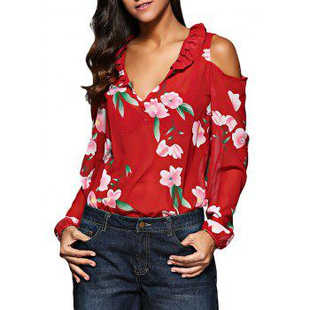 Old Classical V-Neck Flare Sleeve Flounced Floral Cut Out Women Chiffon Blouse