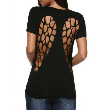 Buy Sexy Round Collar Back Hollow Pure Color Women T-Shirt BLACK
