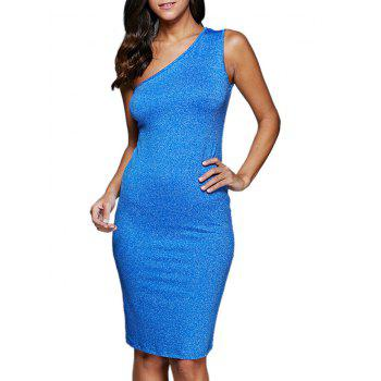 One Shoulder Knee Length Sheath Cocktail Dress