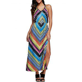 Old Classical Style Halter Allover Tribal Print Women High Slit Dress