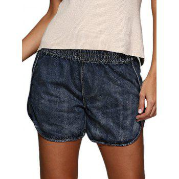 Buy Street Style Elastic Waist Pure Color Denim Women Shorts DEEP BLUE