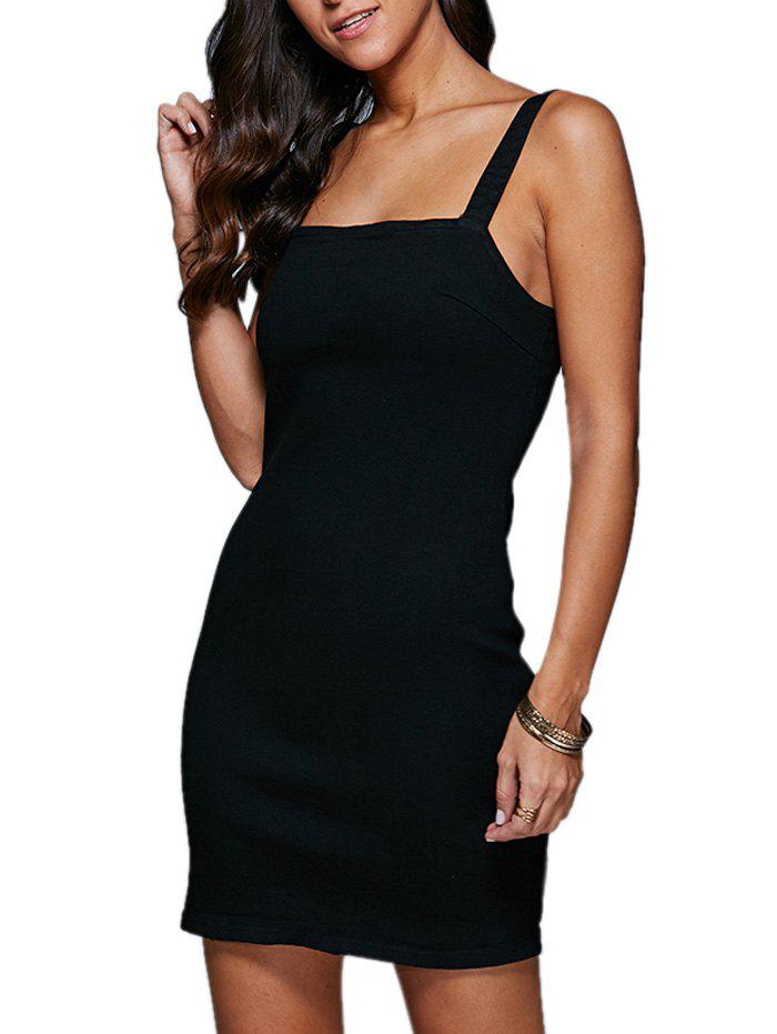 Mini ceinture Bodycon Denim Night Out Dress - Noir 2XL