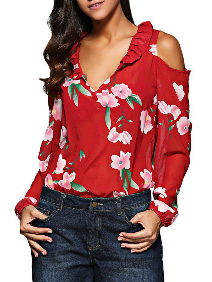 Old Classical V-Neck Flare Sleeve Flounced Floral Cut Out Women Chiffon Blouse - RED L