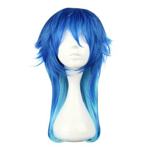 Harajuku Long Straight Gradient Mixed Colors Wigs Cosplay Party pour le meurtre dramatique Seragaki Aoba Figure - Bleu