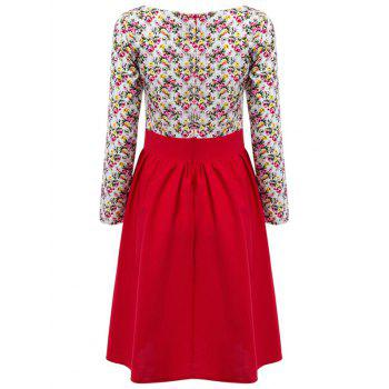 Floral Print Spliced A Line Dress - RED RED