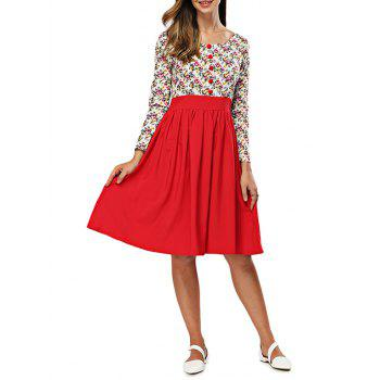 Floral Print Spliced A Line Dress - RED XL
