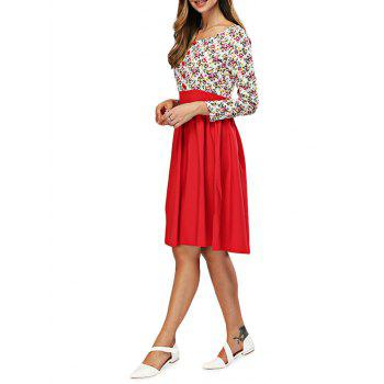 Floral Print Spliced A Line Dress - XL XL