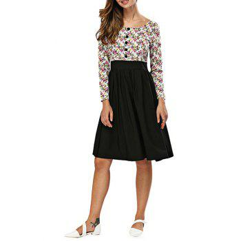Floral Print Spliced A Line Dress