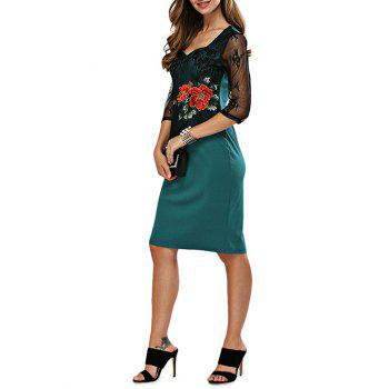 Sweetheart Neck Embroidery Fitted Dress - GREEN L