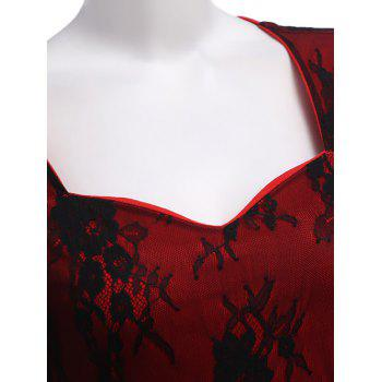Sweetheart Neck Embroidery Fitted Dress - RED M