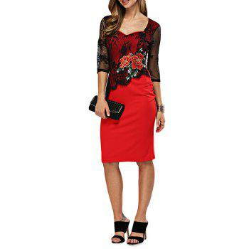 Sweetheart Neck Embroidery Fitted Dress - RED XL