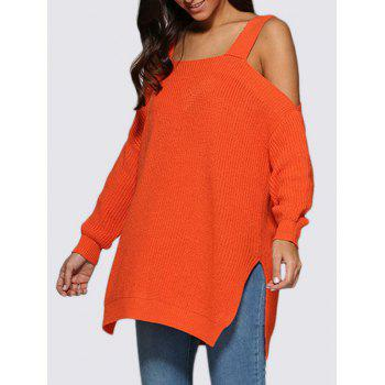 Cold Shoulder Slit Longline Sweater