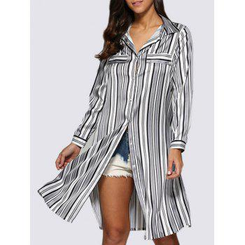 Slit Longline Stripe Shirt