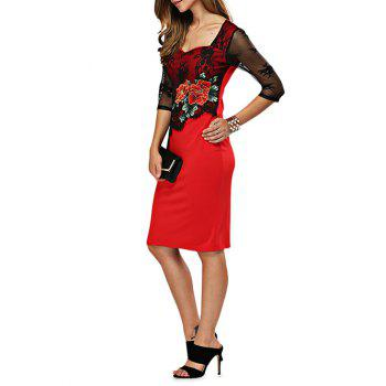 Sweetheart Neck Embroidery Fitted Dress - RED L