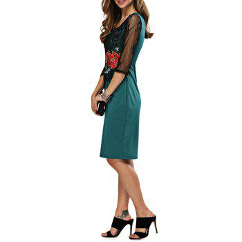Sweetheart Neck Embroidery Fitted Dress - GREEN XL