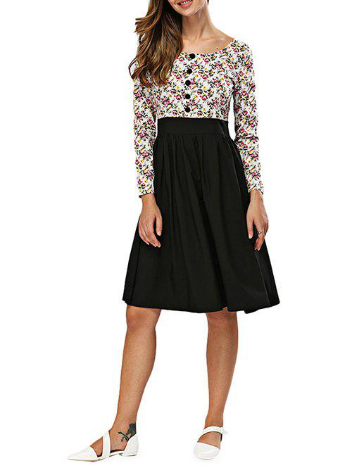Floral Print Spliced A Line Dress - BLACK S