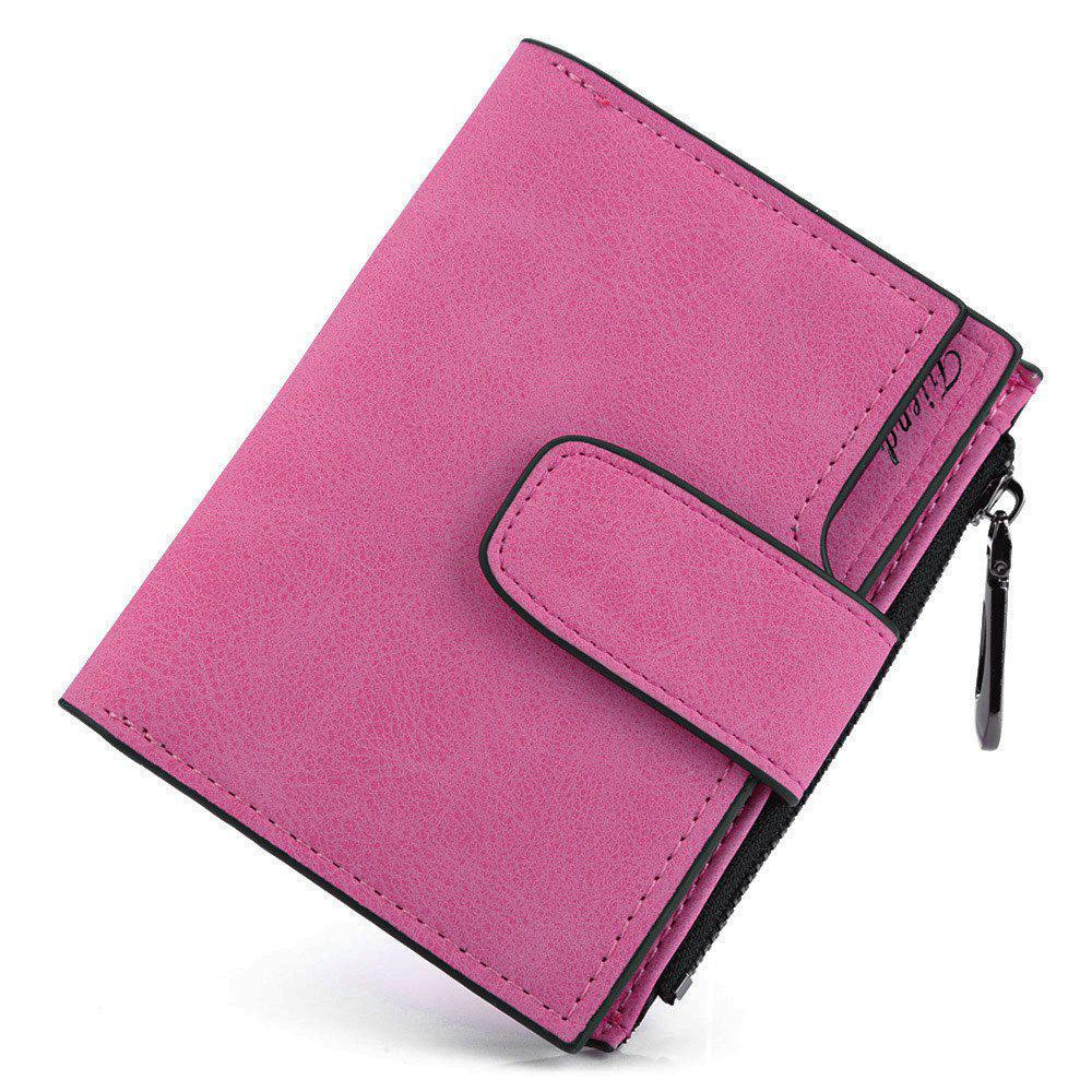 Guapabien Lady Solid Color Letter Snap Fastener Zipper Short Clutch Wallet - ROSE HORIZONTAL