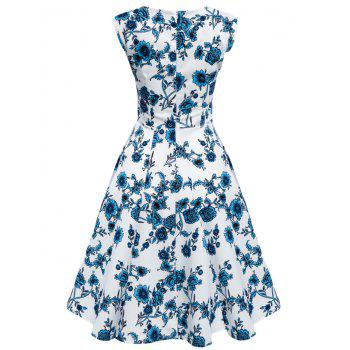 Floral Tea Length Vintage Swing Dress - BLUE AND WHITE XL