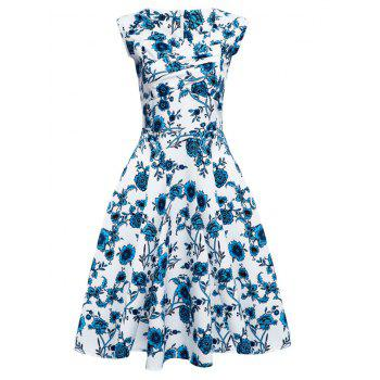 Floral Tea Length Vintage Swing Dress - BLUE/WHITE BLUE/WHITE