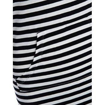 Hooded Striped Front Pocket Bodycon Casual Dress - WHITE/BLACK 2XL