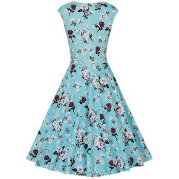 Floral Tea Length Vintage Swing Dress - WATER BLUE WATER BLUE