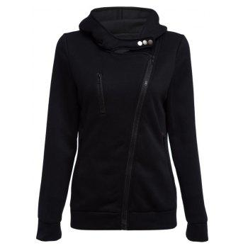 Casual Turn-down Collar Zipper Button Design Women Hoodie - BLACK XL