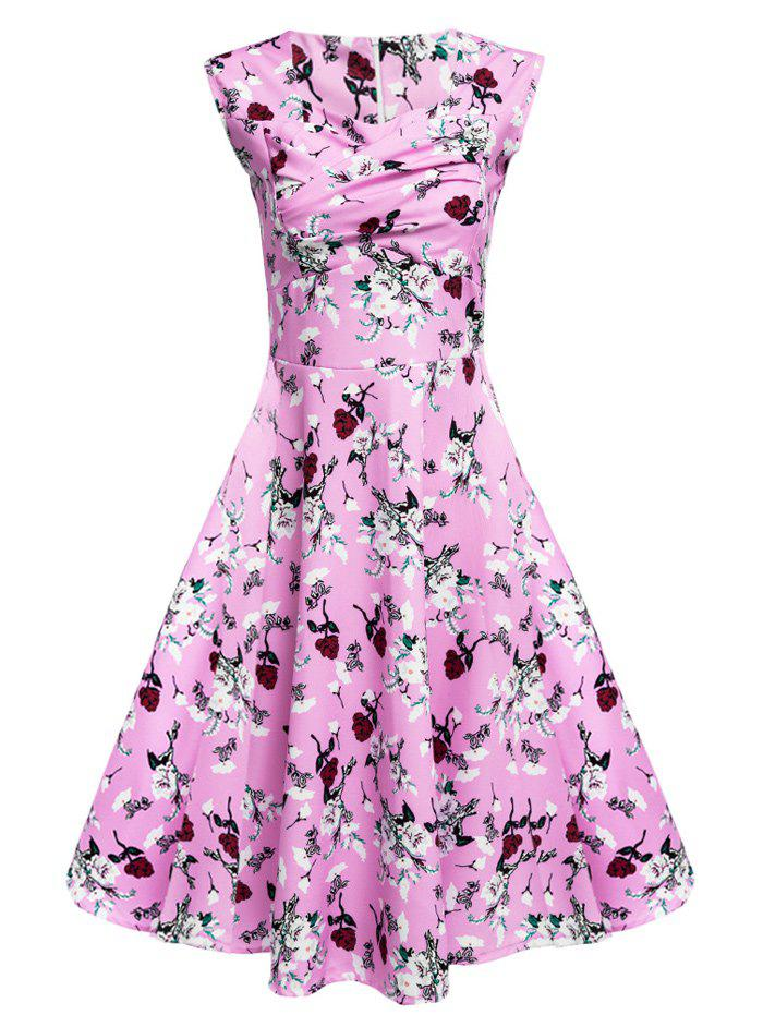 Floral Tea Length Vintage Swing Dress - PEACH PINK 2XL
