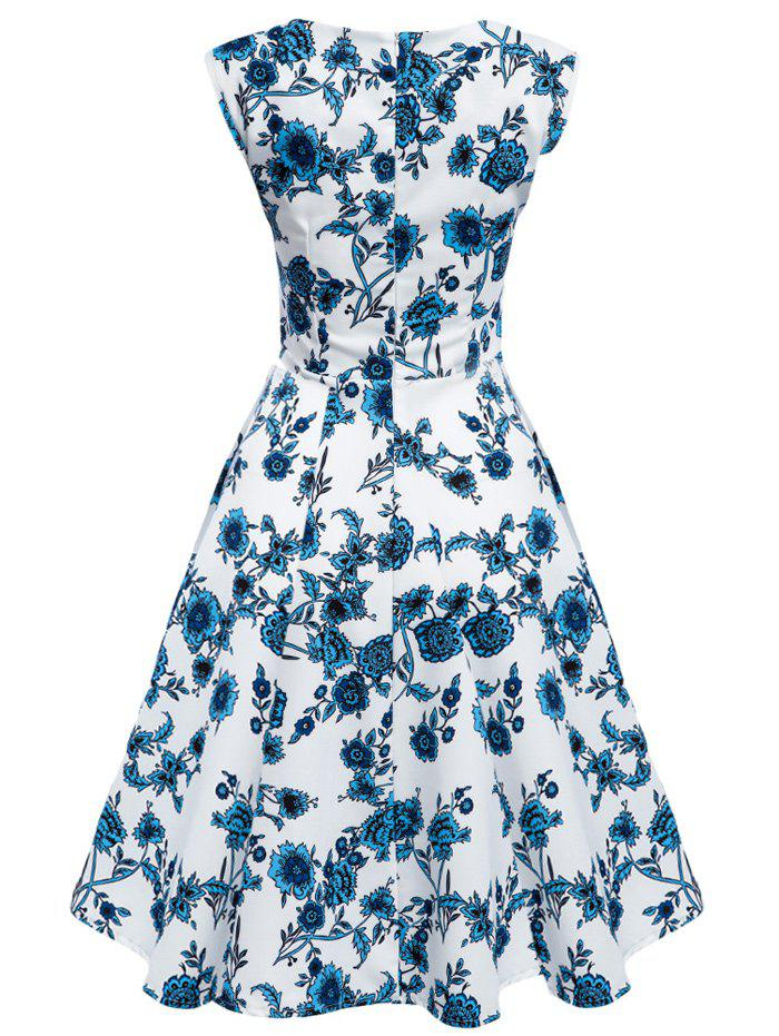 Floral Tea Length Vintage Swing Dress - BLUE/WHITE 2XL