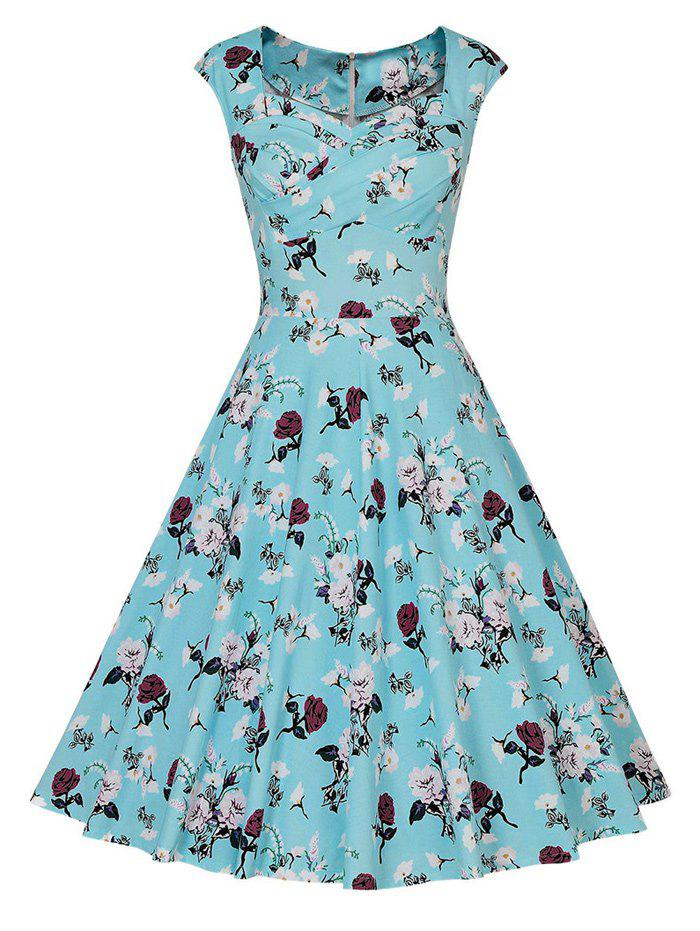 Floral Tea Length Vintage Swing Dress - WATER BLUE 2XL