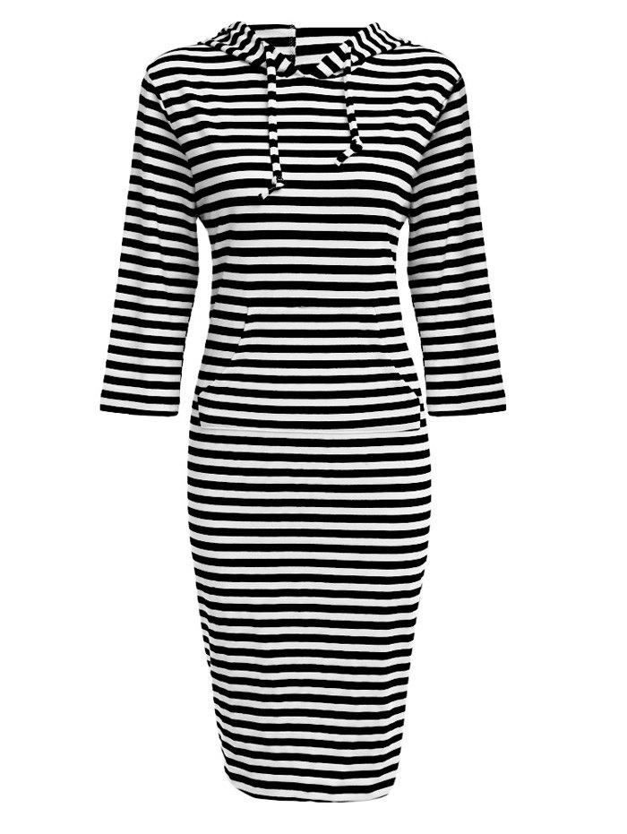 Hooded Striped Front Pocket Bodycon Casual Dress hidden pocket striped dress