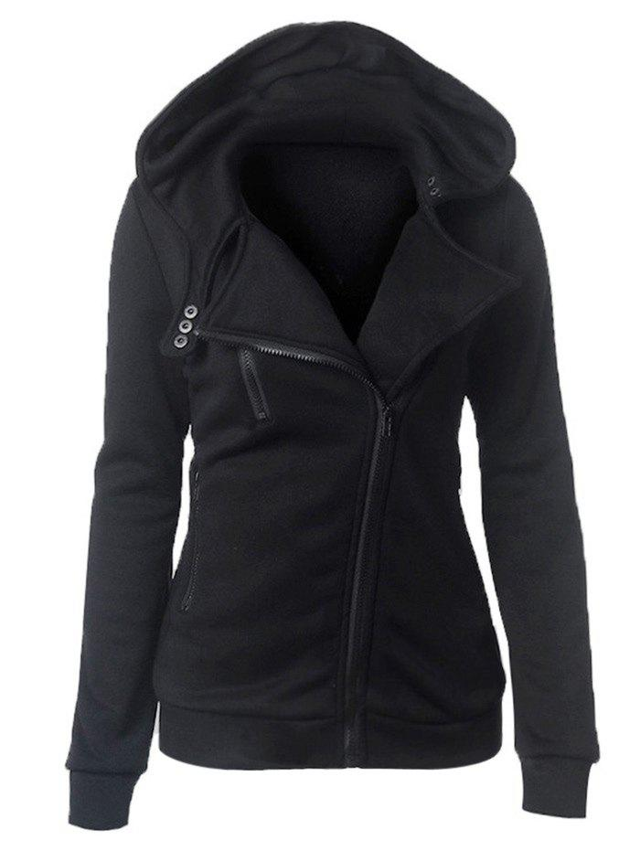 Casual Turn-down Collar Zipper Button Design Women Hoodie - BLACK M