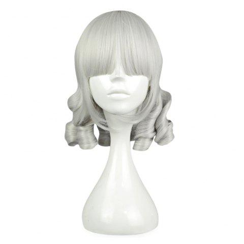 Women Full Bangs Medium Straight Silver White Perruques Cosplay pour Sweetheart Annie - argent blanc