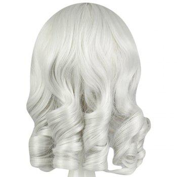 Women Full Bangs Medium Straight Silver White Wigs Cosplay for Sweetheart Annie - SILVER WHITE