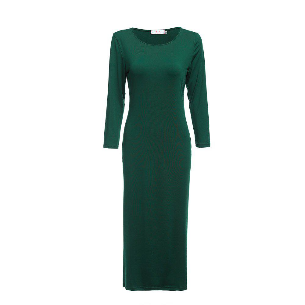 Brief Round Collar Solid Color Bodycon Women Midi Dress - GREEN L