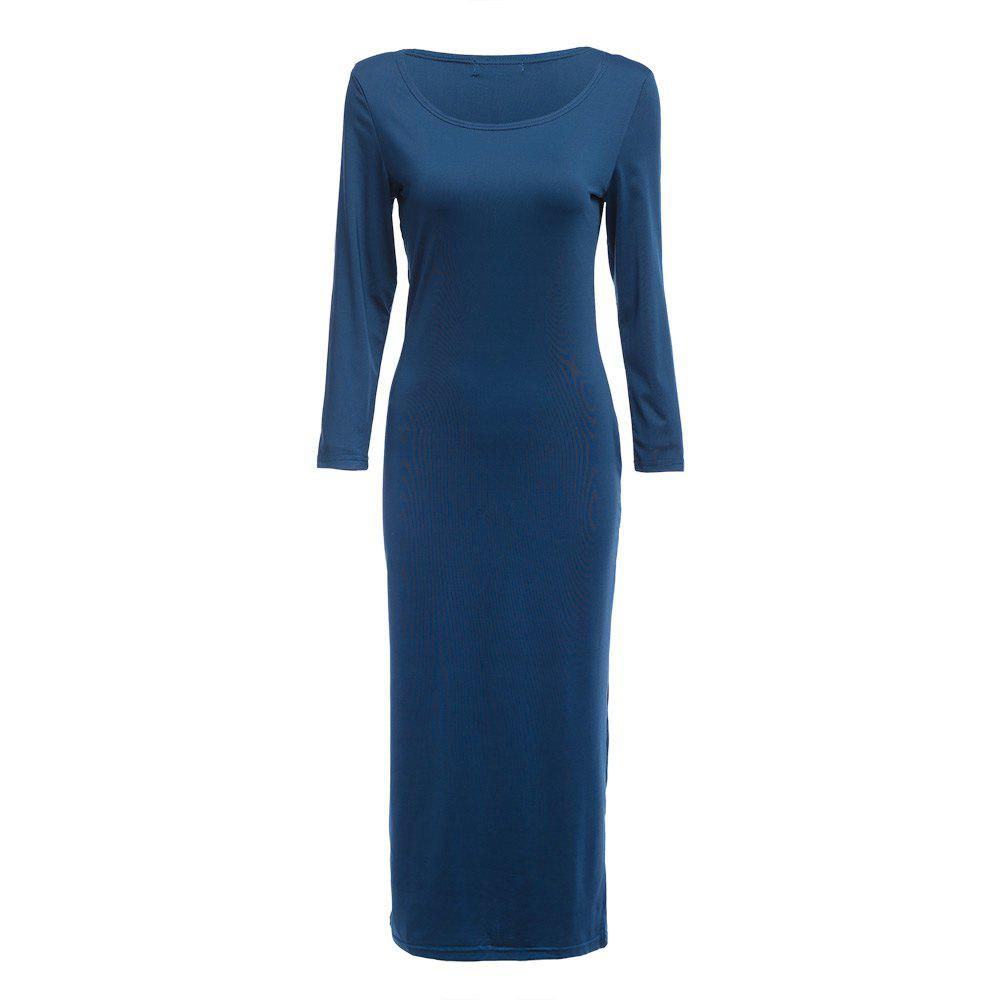 Brief Round Collar Solid Color Bodycon Women Midi Dress - BLUE L