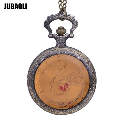 JUBAOLI 1155 Pocket Quartz Watch Musical Notation Pattern Dial Luminous Pointer Necklace Wristwatch - GOLDEN