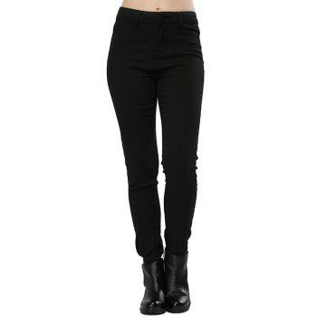 Stylish High Waist Elastic Pure Color Sheath Women Pencil Pants