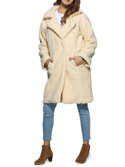 Stylish Turn Down Collar Pure Color Women Coat - OFF WHITE M