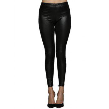 Sexy Mid Waist Back Criss Cross Skinny Women Leather Pants