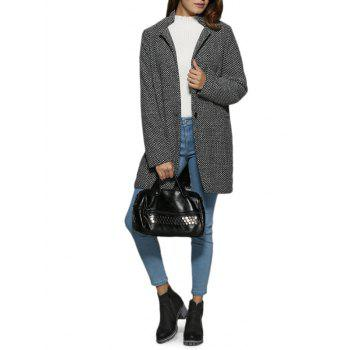 Trendy Turn Down Collar Houndstooth Pocket Women Coat