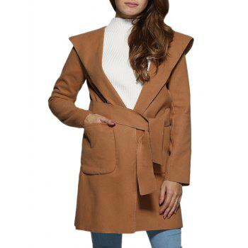 Trendy Hooded Front Pocket Pure Color Women Coat