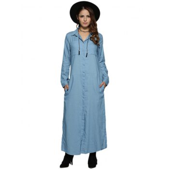 Casual Turn Down Collar Front Pocket Pure Color Slit Women Denim Dress